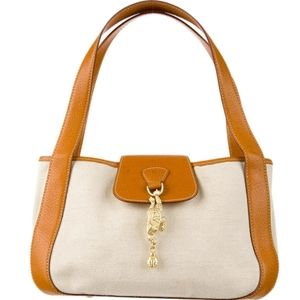 Kieselstein-Cord Canvas and Leather Handle Bag